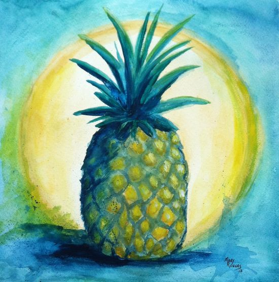 Original Watercolor Painting Pineapple by sweetteadesigns on Etsy, $30.00. I like how this one turned out.