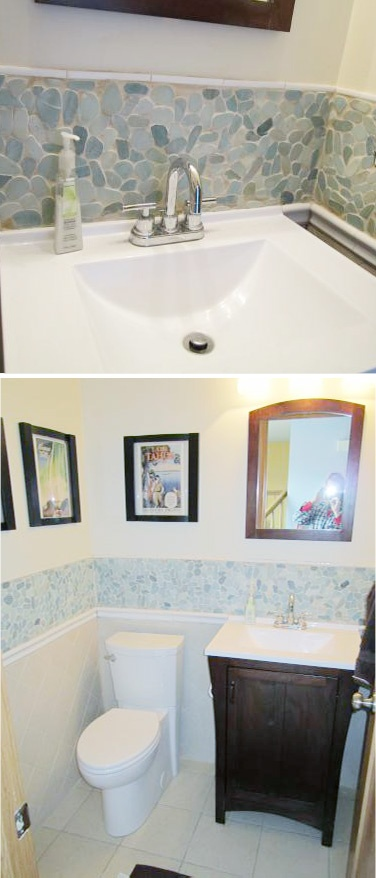 The Solistone River Rock looks gorgeous in this small bathroom! #tile