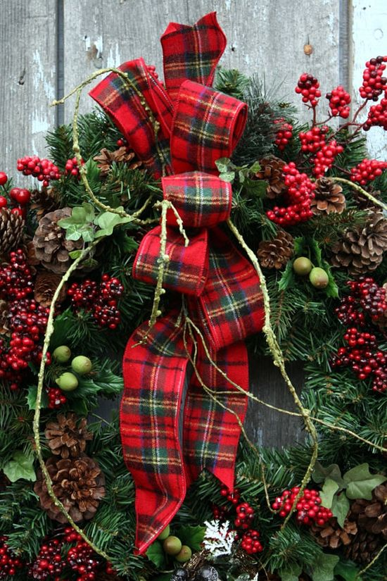 hang the wreath on the old log wall