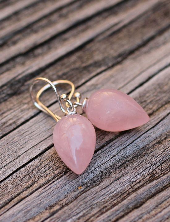 Pink Earrings Rose Quartz Acorn Tear Drop Earrings Amy FIne Design