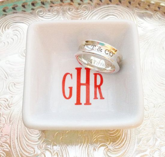 Great for wedding showers, hostess gifts, friendship gifts, birthdays, or for yourself!  Petite Monogrammed  Ring Dish by ArentYouCute on Etsy, $13.00
