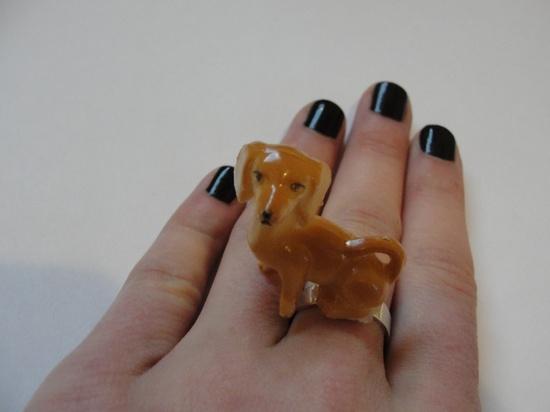 {Vintage Dachshund Ring} cute!
