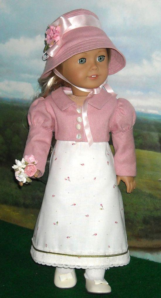 1812 Regency Dress with Pink Linen Spencer by SugarloafDollClothes, $125.00