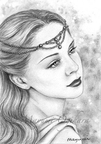 """Pearl Tiara - original ACEO, pencil drawing, fantasy art, 2.5 X 3.5"""""""