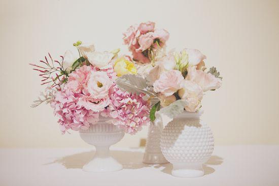 pretty pastel centerpieces in milk glass