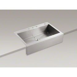 Kohler K-3942-4-NA Vault Farmhouse Self-rimming Large Single-bowl Kitchen Sink with 4 Faucet Holes Stainless Steel