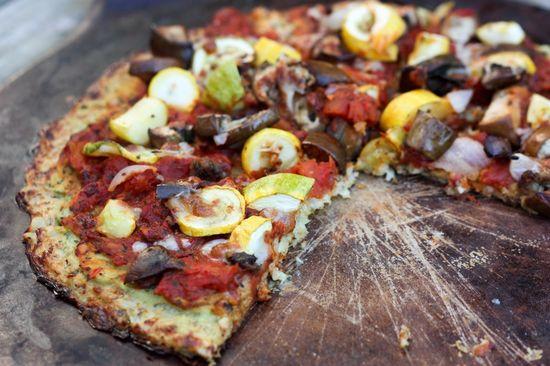 cauliflower pizza crust. So healthy super good!!