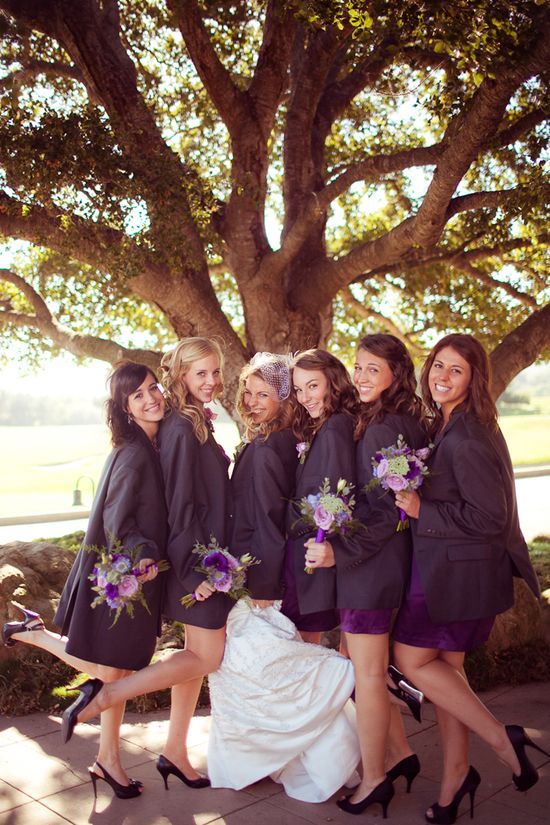 Bridesmaids in the groomsmen's jackets, this is so cute :)