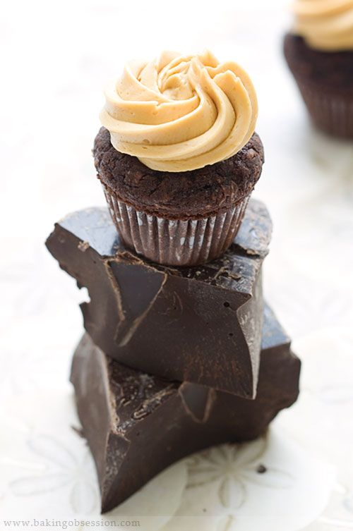 Chocolate Coconut Cupcakes with Caramel Buttercream Frosting