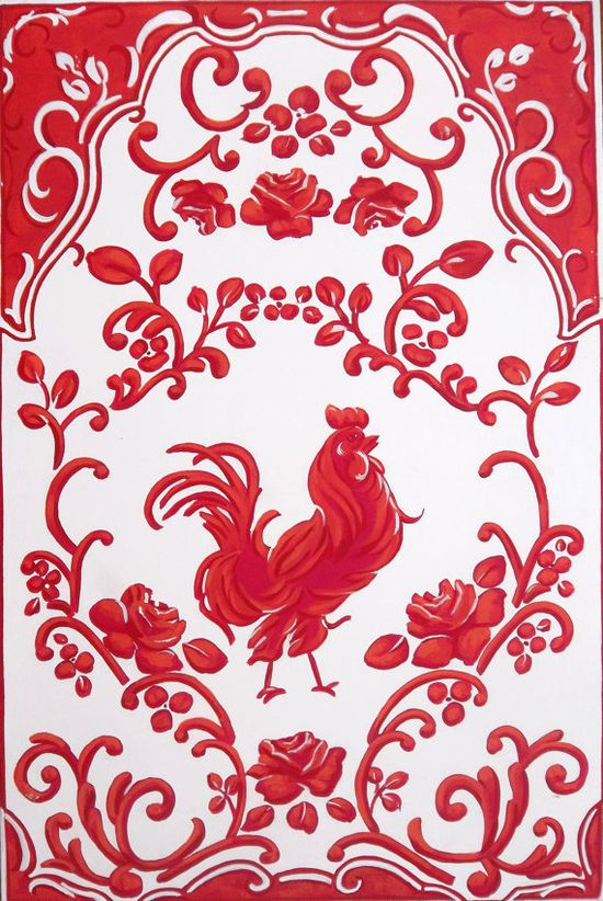 Red Rooster Toile Home Decor