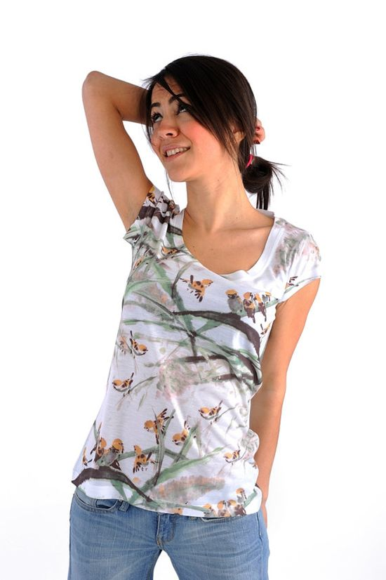 olive green bird print spring fashion new design by nikacollection, $32.00