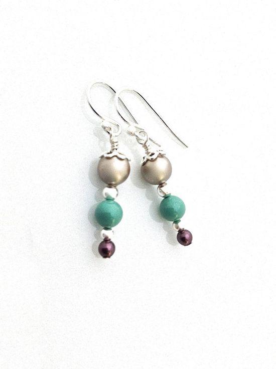 Swarovski pearls neutral jade and purple with sterling silver. #vegan #pearl #earrings by #UrbanClink, $21.00