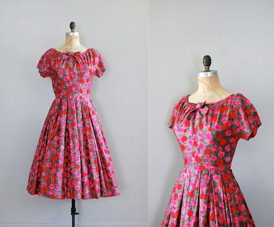vintage 1950s Fireflower dress
