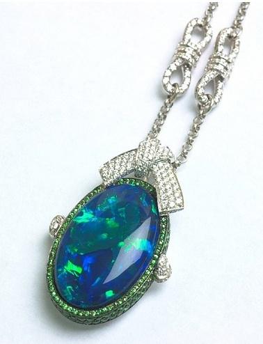 Black opal, diamond and tsavorite necklace