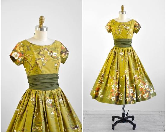1950s dress / 50s dress / Green Japanese Floral Orange Blossom Print Party Dress