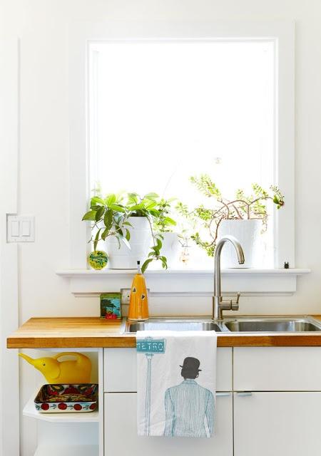 kitchen - butcher block counter, white cabinets