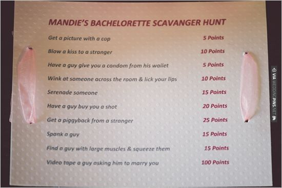 bachelorette scavanger hunt ideas. You must see more of this sweet and sexy bachelorette party