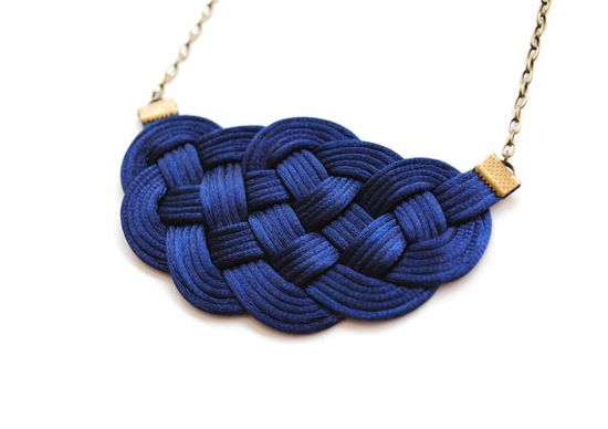 Big sailor's knot necklace in navy satin cords by elfinadesign, $27.00