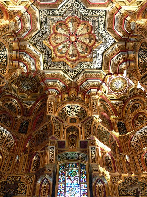 Arab Room ceiling inside Cardiff Castle, Wales