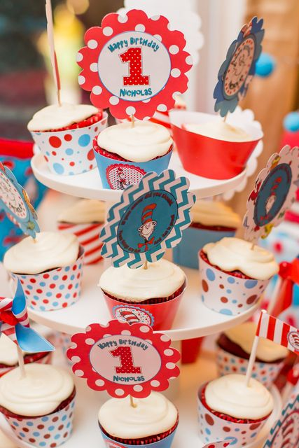 Cool cupcakes at a Dr. Seuss party!  See more party ideas at CatchMyParty.com!  #drseuss #partyideas