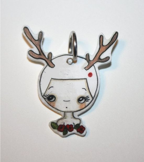Thinking Deer ---Tiny Handmade Charm- All Proceeds Donated to Japan