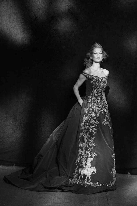 Carolyn Murphy in Oscar de la Renta. Photo by Peter Lindbergh.
