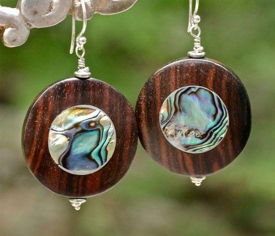 Wood Earrings Abalone Earrings Summer Jewelry Amy FIne by amyfine