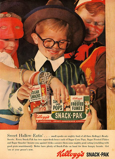 Super cute (minus the horror movie worthy clown on the box of Sugar Smacks) 1950s Kellogg's cereal ad. #Halloween #cereal #kids #1950s #retro #ad #costume #vintage #fifties