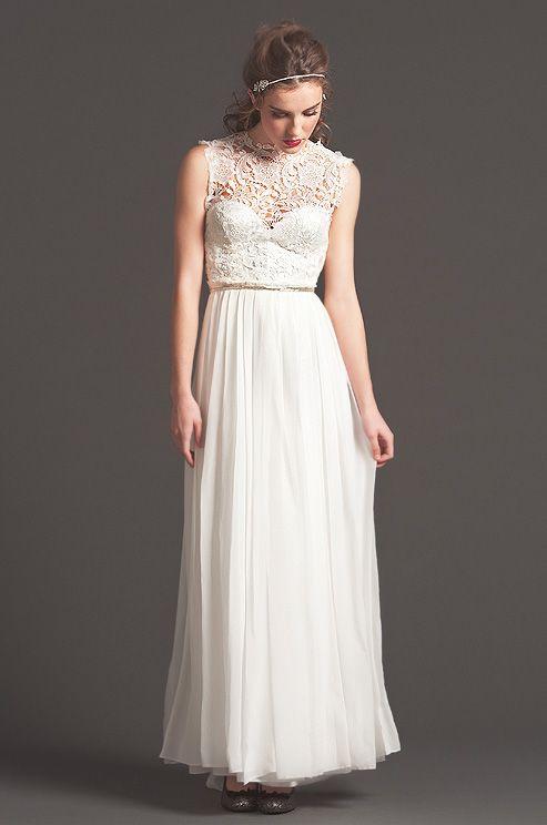 Lace neck Sarah Seven wedding dress, 2013.