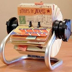 "i love the idea of turning memories into a ""rolodex scrapbook:....using vintage cards, photos and bits of this and that..."