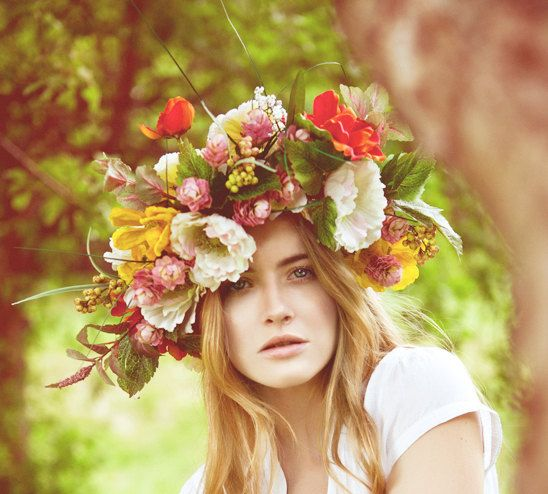 Floral Crown Bridal Flower Hair Piece via Etsy