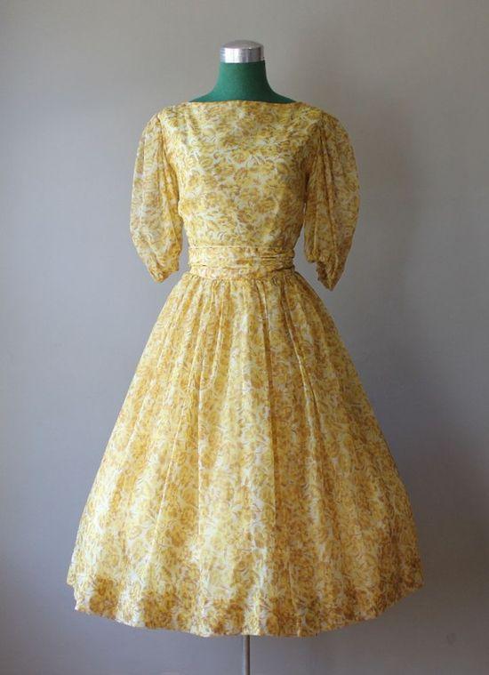 Vintage Chiffon Dress #fashion #floral #dress #1950s #partydress #vintage #frock #retro #sundress #floralprint #petticoat #romantic #feminine
