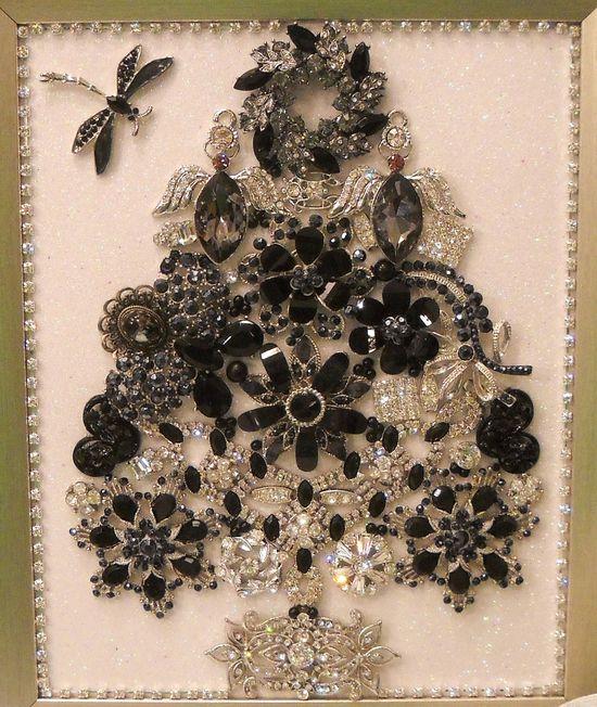 "? Framed Jewelry Christmas Tree ""Midnight Christmas """