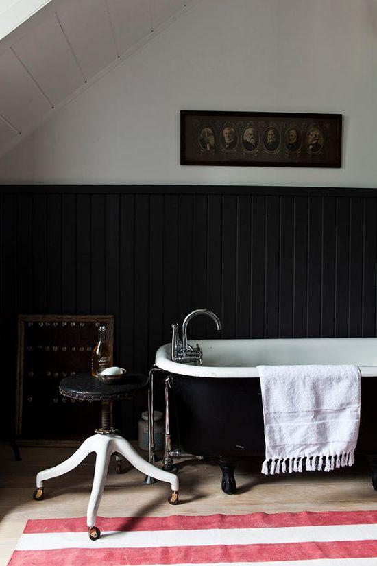 Black claw foot tub.