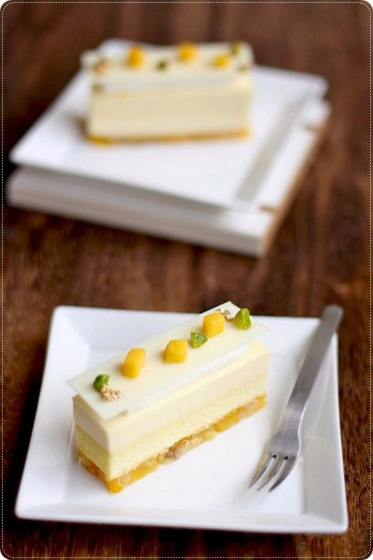 An artfully elegant slice of Lemon Souffle White Chocolate Mousse. #food #mousse #pudding #lemon #white #chocolate #dessert