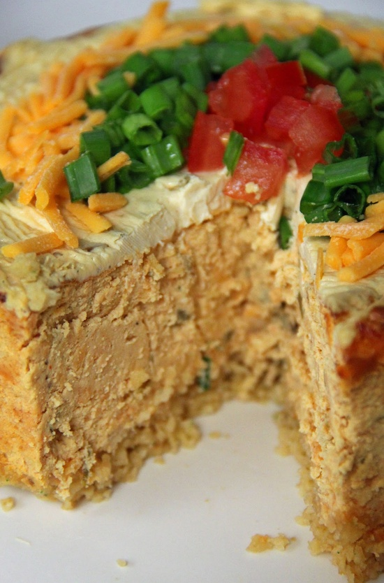 Savory (not sweet) Southwest Cheesecake  Next time you need a savory treat to take to a party - definitely give this a whirl. People will think you are magic to be able to create such deliciousness.