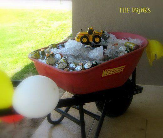 construction party -- drinks in wheelbarrow!