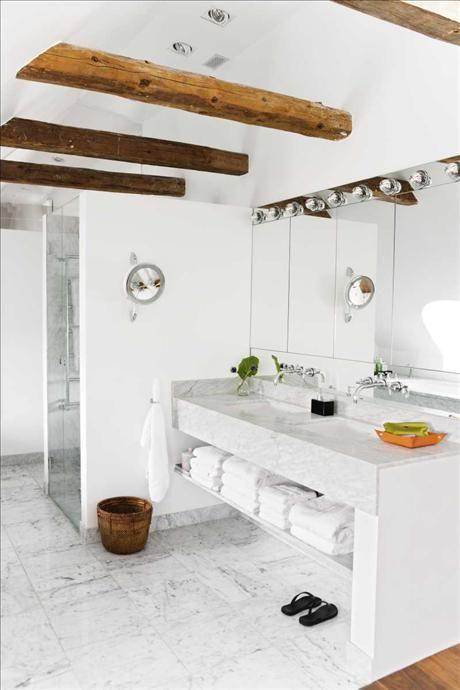 wooden beams in the bathroom