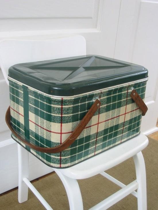 green plaid metal basket...