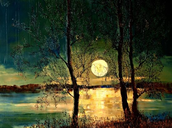 "Justyna Kopania; Oil, 2011, Painting ""Moon"" - the moon has to be one of my favorite subjects of paintings. The colors in this are fantastic."
