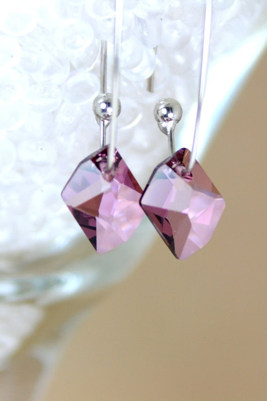 Antique Pink Crystal Dangle Earrings by TrinketsNWhatnots on Etsy, $25.00  www.trinketsnwhat...