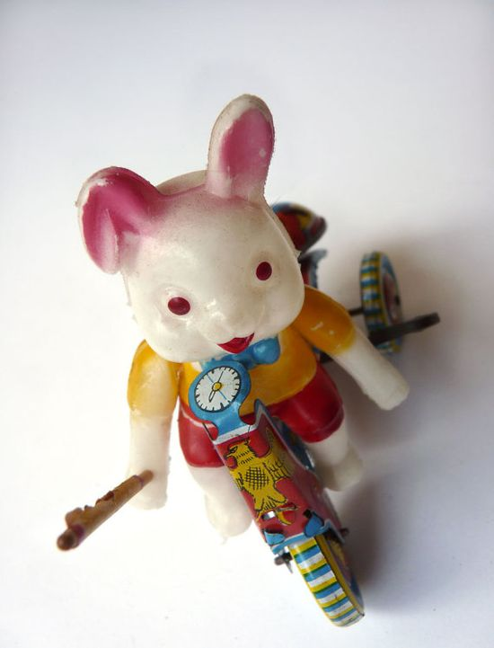 1950s Tin Toy, Celluloid Rabbit on Tricycle, Made in Japan- on Etsy.