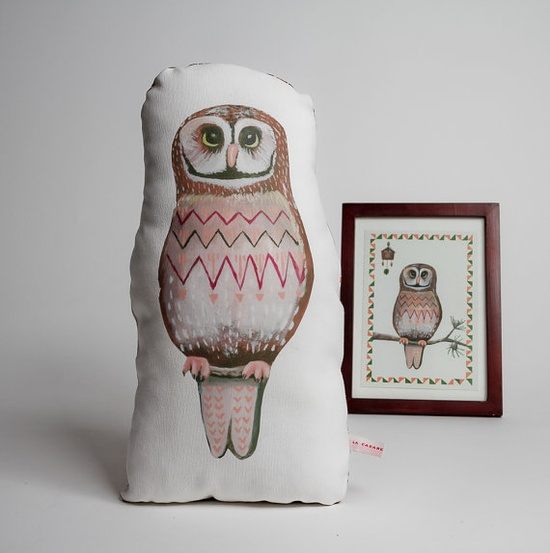 {Plush owl pillow}