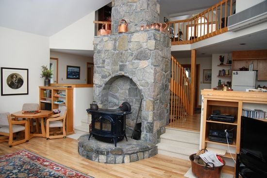 I LOVE this stone fireplace!