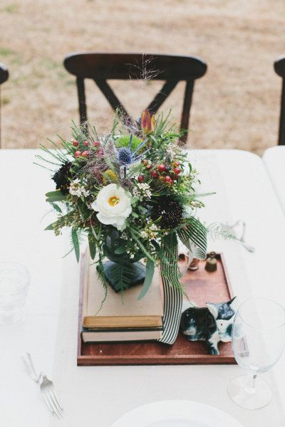 Vintage centerpieces. Photography by brettjessica.com  Read more - www.stylemepretty...