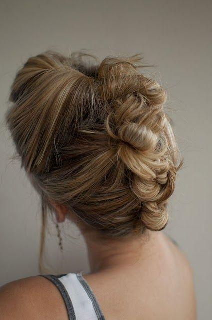 This is a gorgeous hairstyle. And since it is an updo, it would be great for me with the boys! Tried something similar