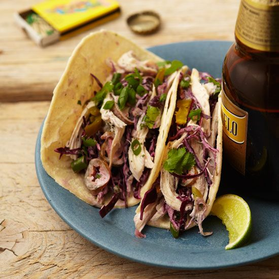 Chicken and Cabbage Tacos with Cilantro Cream // More Quick Chicken Recipes: www.foodandwine.c... #foodandwine