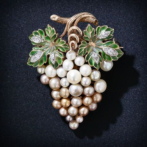 """Antique """"Grape"""" Cluster Brooch with plique-a-jour enamel leaves and 30 natural pearls."""
