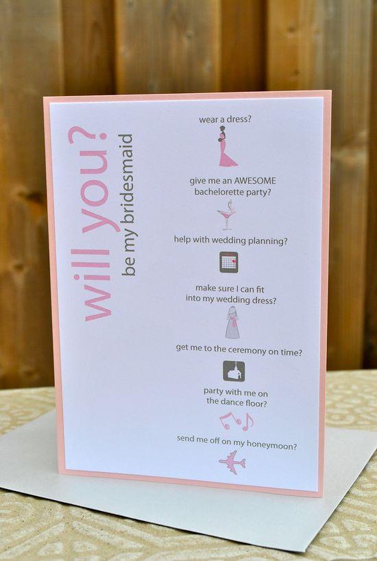 Will you be my bridesmaid card.. SO CUTE.