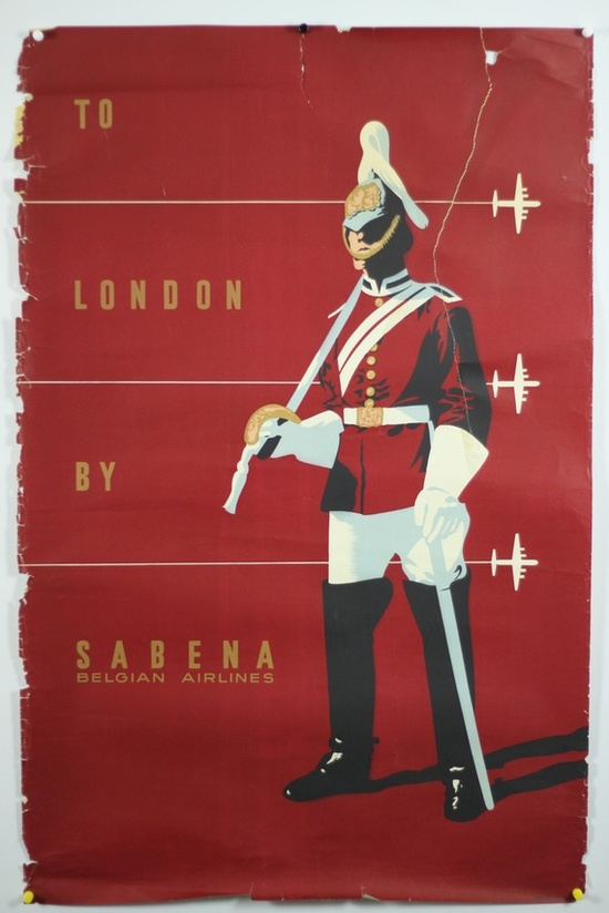 """to london,"" by sabena vintage travel poster, circa 1950s."